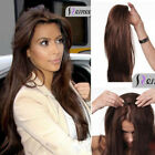 "Charming 15""-24"" Natural Straight Human Hair Weft Hair Glueless 3/4 Half Wigs"