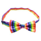 Mens Boys Tuxedo Rainbow Stripe Bow Tie Gay Pride Neck Ties Adjustable Polyester