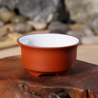 Yixing Zisha Red Clay Three Legs Cup with White Glaze Inside Teacup 45ml 1.5oz