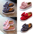 Kids Girls Flat Slip On Pumps Bowknot Loafers Trainer Flat Casual Comfy Shoes