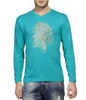 Clifton Men's Printed Full Sleeve V-Neck T-Shirt-Teal -Tribe-1