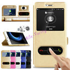 Silk PU Leather Cover kickstand View Window Phone Case for Huawei Y6 Elite
