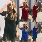 Womens Winter Warm Long Sleeve Tunic Bodycon Lace Club Party Cocktail Mini Dress