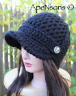 Women's Crochet Newsboy Hat Autumn Winter Cream Black Gray Brown Off White