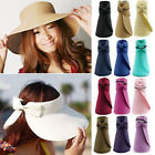 Fashion Women Lady Wide Brim Roll Up Beach Sun Straw Hat Visor Foldable Cap Hat