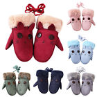 Newly Kids Gloves Lovely Cartoon Cat Winter Thicken Lining Mittens Girls Glove