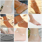 Ankle Bracelet Silver 925 Sterling Women Gold Anklet Foot Chain Boho Beach Beads