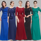 US Women 3/4 Long Sleeve Lace Long Formal Evening Dress Party Prom Dresses 09882