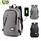 Anti-Purloining Backpack USB Charging Port Rucksack Laptop School Bag Travel + Cable