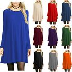 Womens Solid Loose Casual Rayon And Spandex Long Sleeve Dress
