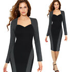 Womens Elegant Color-Block Contrast Patchwork Business Work Party Sheath Dress