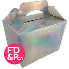 Metallic Silver Party Boxes Food Loot Lunch Cardboard Gift Childrens Kids