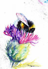 Print or Greeting Card Watercolour Bee and Thistle  by Artist Be Coventry art