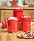 Set Of 3 Vintage Metal Canisters Embossed With Tea Sugar Coffee Country Kitchen