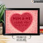 PERSONALISED MUM I LOVE YOU HEART MUM MUMMY BIRTHDAY CHRISTMAS GIFT PRESENT
