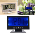 LCD Digital Sound Sensor Table Desk Alarm Clock w Electric Calendar Temp Display