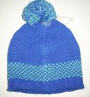 New OLD NAVY Girl's Hat Size 12 24 months Sweater Knit Pom Pom Beanie Blue
