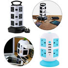 Extension Lead Tower 10Way Socket 3m Power Cord 4 USB Independent Switch UK Plug