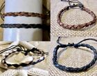 LEATHER BRACELET BROWN ADJUSTABLE ANKLET FRIENDSHIP WRISTBAND surfer boho mens