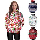 Autumn Women Hooded Pullover Sweater Warm Hoodie Christmas Print Casual Tops ILC