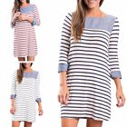 Oversize Womens Strip Loose Long Sleeve Round Collar Med Long Casual Dress US Sz