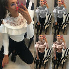 Fashion Womens Lace Pullover T Shirt Long Sleeve Cotton Tops Shirt Lady Blouse