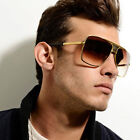 Retro Men's Large Square Aviator Metal Bar Fashion Sunglasse
