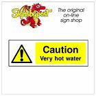 Caution very hot water sticker HSE Health Safety FOO52 10cm x 30cm