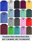 NEW Omega Mens Solid SHORT SLeeve Dress Shirts, 26 Colors, S 5XL