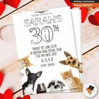 Personalised dogs funny birthday party invitations invites & envs 30th 50th