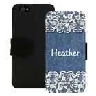 PERSONALIZED WALLET CASE FOR iPHONE X 8 7 6 5 PLUS DENIM JEAN LACE