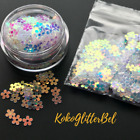 white nail glitter - Daisy Flower Spangle Glitter Mix White Blue Pink Iridescent | Nail Art Design
