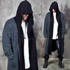 NewStylish Mens Fashion Casual Contrast Layer Heather Knit Long Hood Cardigan