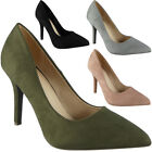 Womens Plain Court Shoes Faux Suede High Stiletto Heel Ladies Pointy Shoes Size