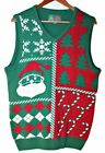 Ugly Christmas Sweater Men's Vest Sz S & L Green Red Santa Tree Candy Cane $55