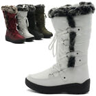 ollio Womens Shoes Lace Up Nylone Padding Quilted Fur Snow Duck Boots