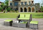 4 Pc Rattan Outdoor Furniture Patio Garden Sectional Pe Wicker Cushion Sofa Set