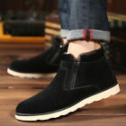 British Men's Casual Suede Ankle Boots Fur Warm High Top Loafers Sneakers Shoes
