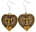 A058 Letter T love heart Earrings U pick iron or Stainless Steel hook&circle New