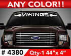 "MINNESOTA VIKINGS w/ HORNS WINDSHIELD DECAL STICKER 44""x4"" ANY 1 COLOR $12.99 USD on eBay"