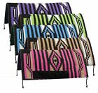 "Colorful SADDLE PAD 32"" x 32"" NAVAJO Acrylic Top 1"" Felt Bottom & Wear Leathers"