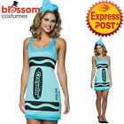 CA325 Crayola Tickle Me Blue Crayon Tank Dress Up Adult Book Week Costume Outfit