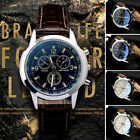 Military Leather Stainless Steel Quartz Analog Army Men