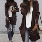 US Women Long Sleeve Knitwear Jumper Cardigan Loose Coat Jacket Casual Sweater