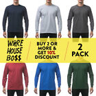 2 PACK PROCLUB PRO CLUB MENS CASUAL LONG SLEEVE T SHIRT HEAVY-DUTY COTTON SHIRTS image