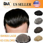 GEX 62 Colors Toupee Mens Hairpiece SWISS LACE Human Hair Replacement System