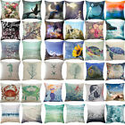 18'' Blue Quote Ocean Beach Pillowcase Pillow Cover Car Sofa Waist Cushion cover