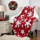 "Christmas Red Snowflake Soft Solid Warm Reversible Fuzzy Fleece Blanket-40""x 60"" image"