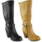 Womens Mid Calf Boots Ladies Biker Strap Long Zip High Heel Fashion Shoes Size