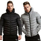 Mens New Winter Gym Down Cotton Thick Hooded Coat Fashion Warm Jumper Jacket